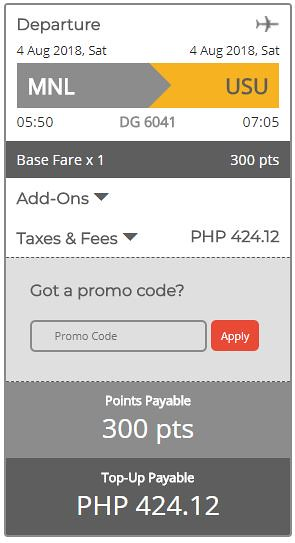 GetGo Triple Treat Manila to Coron August 4, 2018 Booking Summary