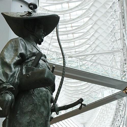 A statue of Dokan Ota at Tokyo International Forum. He built Edo castle in 1457.