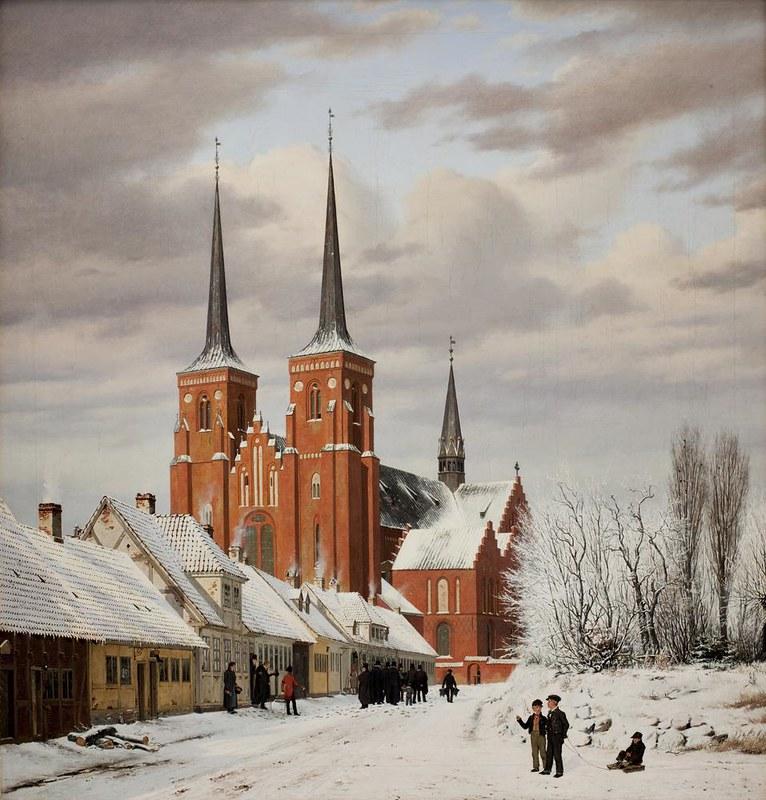 Jørgen Roed - En gade i Roskilde. I baggrunden domkirken (1836)