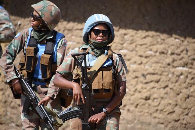 South African Female combatants of MONUSCO COB Mavivi on engagement Patrols.