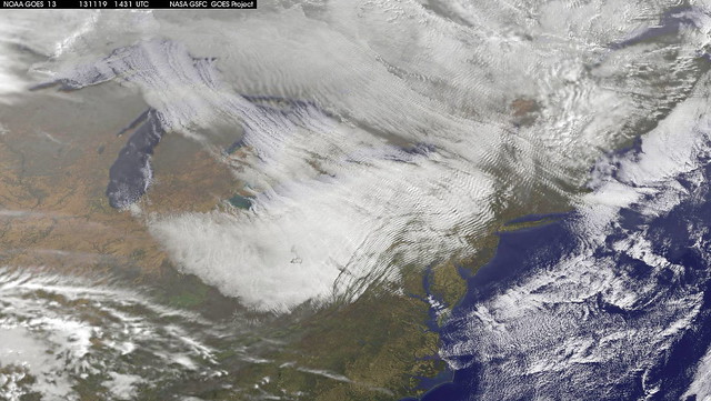 Lake Effect Clouds Seen by Satellite