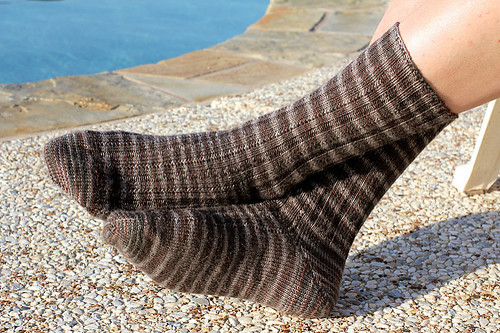 aug3zimm's Simple Skyp Socks knit using Rowan Fine Art in Chiff Chaff for her husband.