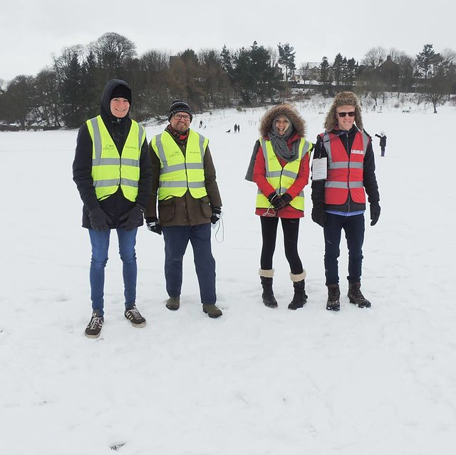 volunteers in the snow