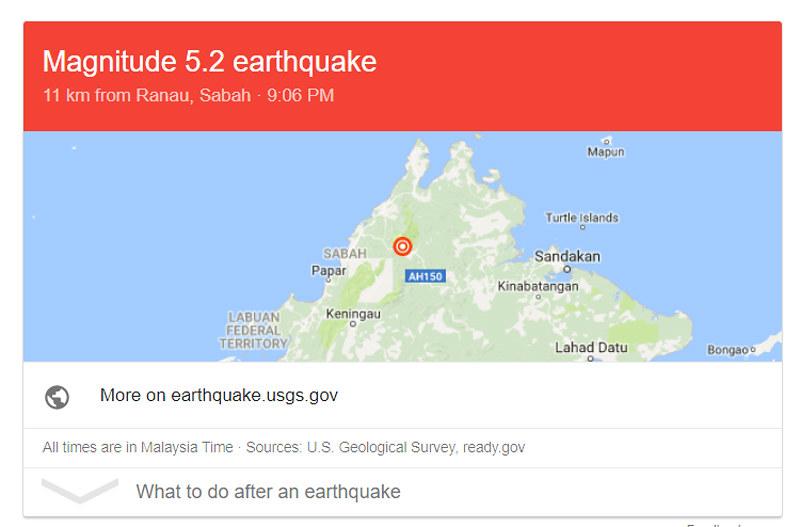 earthquake sabah