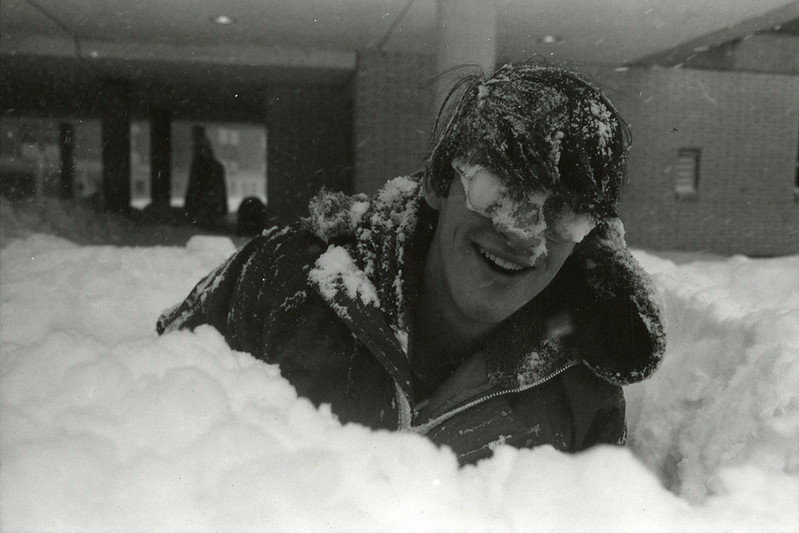 Student with snow-covered glasses during Blizzard of 1978