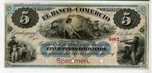 Lot 3 Argentina, Banco Del Comercio, 1869 Specimen Banknote