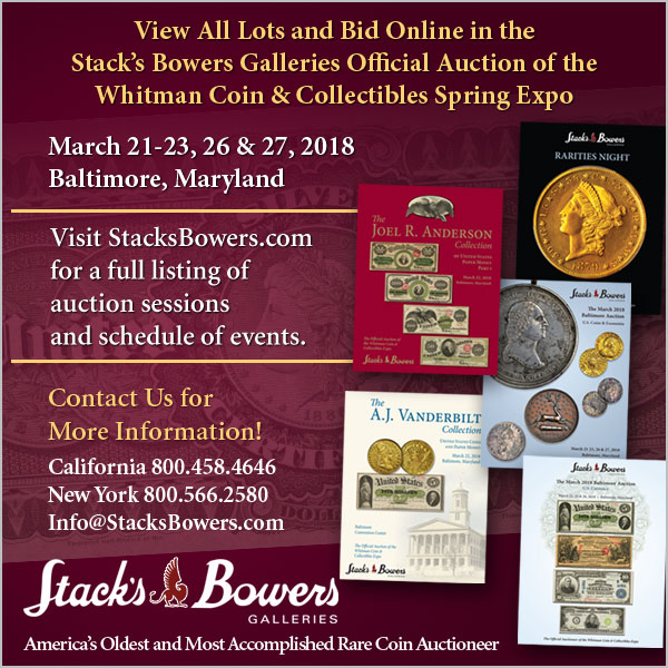 Stacks-Bowers E-Sylum ad 2018-03-04 Baltimore