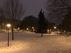 Effet brunâtre de la lumière sur la neige