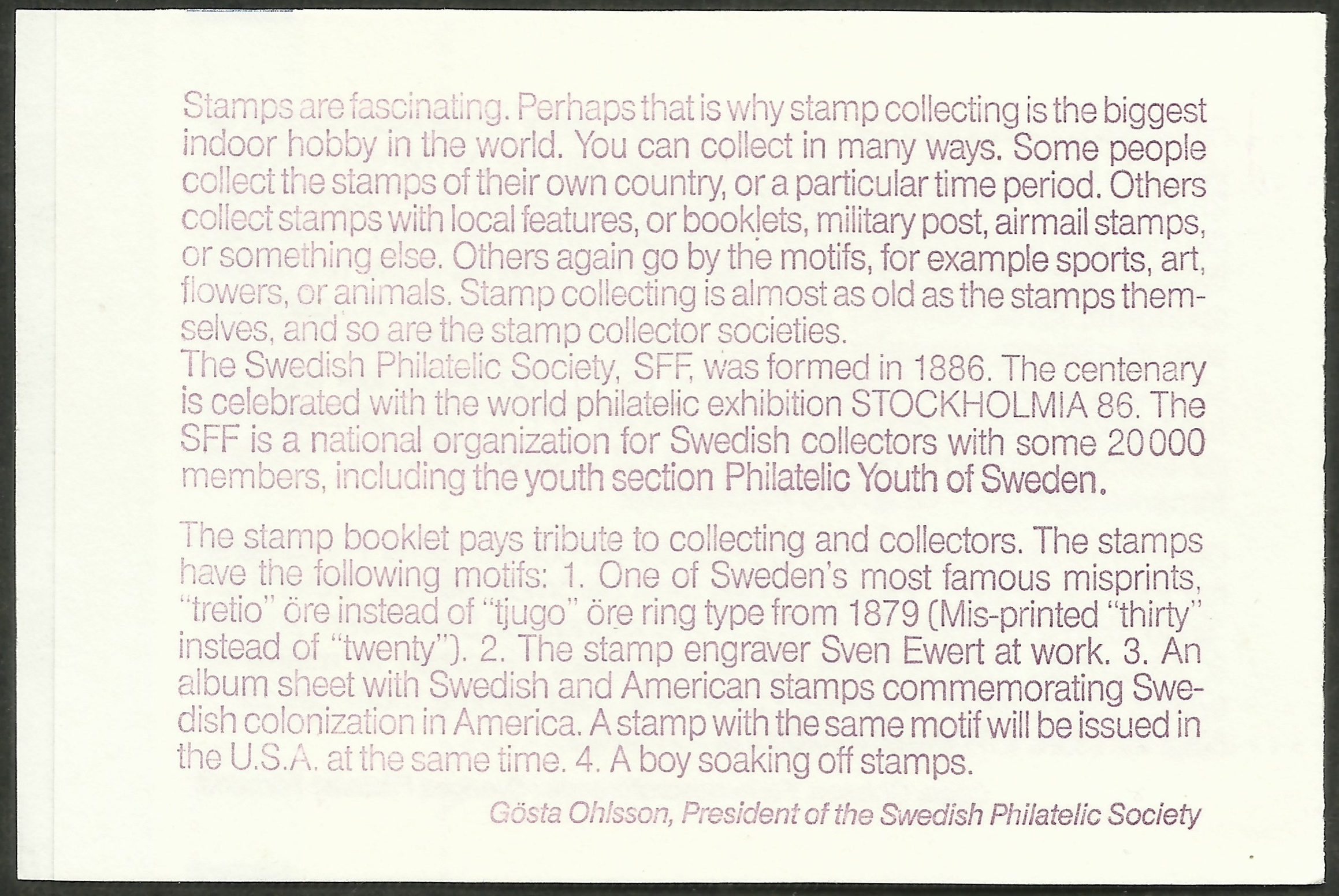 Sweden - Scott #1588a booklet covers and inside