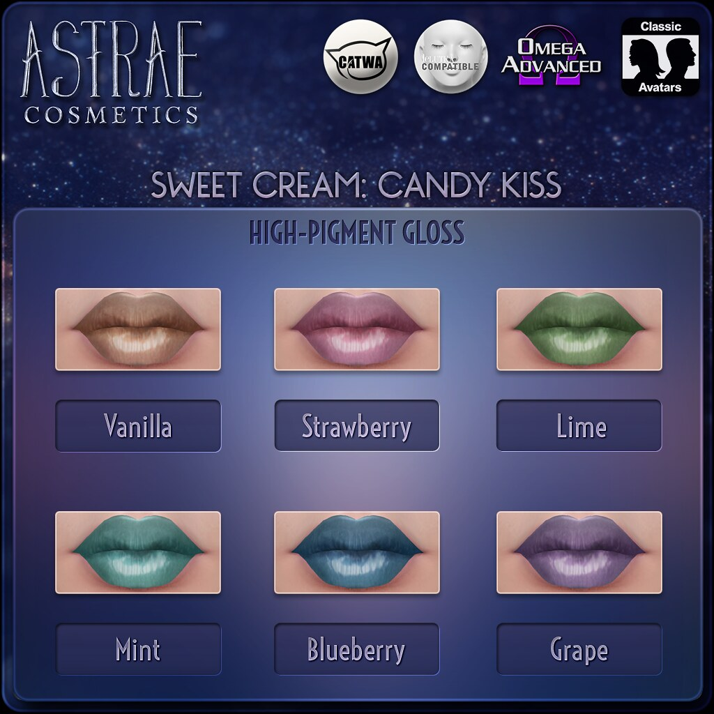 Astrae . Sweet Cream: Candy Kiss Lip Colors