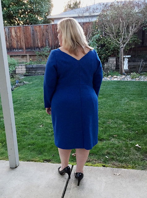 Blue wool dress back view