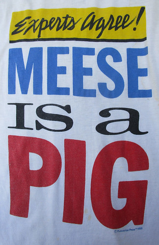 "Vintage 1980s XL Size ""Experts Agree! Meese is a Pig"" T-Shirt"