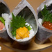 Trio of temaki hand rolls (tuna avocado, Maine sea urchin, and ikura salmon roe)