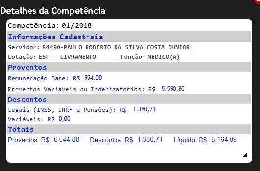 medico - semsa - contracheque - Costa Júnior