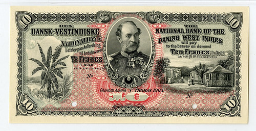 Lot 242 National Bank of Danish WI, 1905 10 Francs Proof Banknote