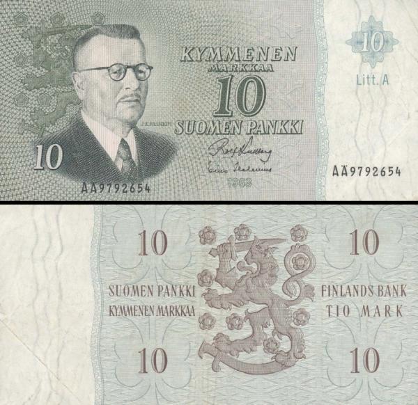 10 Markka Fínsko 1963, P104a