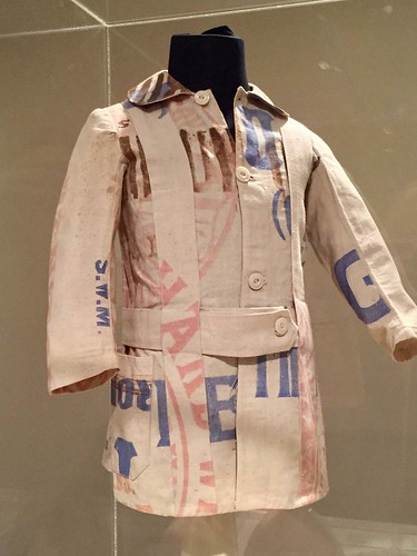 american relief wwi belgium coat child home sewn cotton flour sack wilmington nc northcarolina cameron museum cam exhibition textile