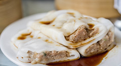 Beef rice noodle rolls (cheong fun) dim sum style