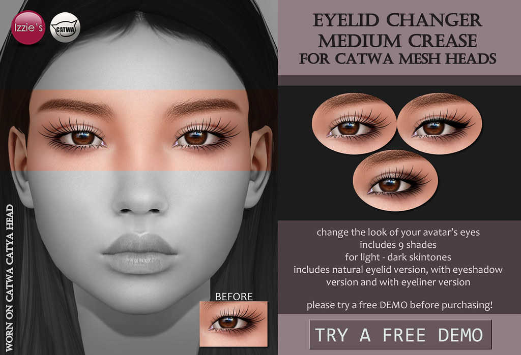 Catwa Eyelid Changer Medium Crease (Skin Fair) - TeleportHub.com Live!