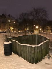 L'un des espaces pour les besoins des chiens sous la neige