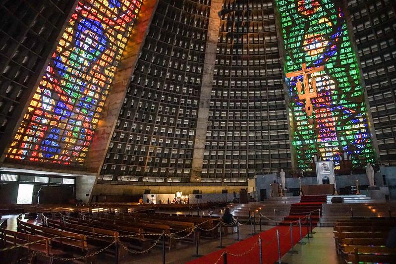 The insides of Cathedral Brasilia Brazil Rio de Janeiro church kirkko