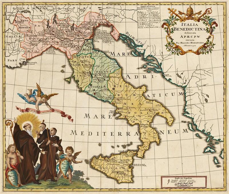 Homann Heirs - Italia Benedictina delineata (1760)