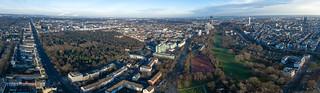 Panorama von Köln mit Grüngürtel, Colonius und Melaten-Friedhof