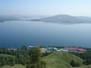 Вид с горы на озеро Банное