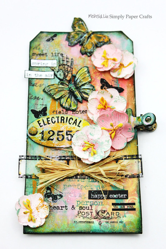Meihsia Liu Simply Paper Crafts Mixed Media Tag Spring Simon Says Stamp Tim Holtz Prima Flowers 1