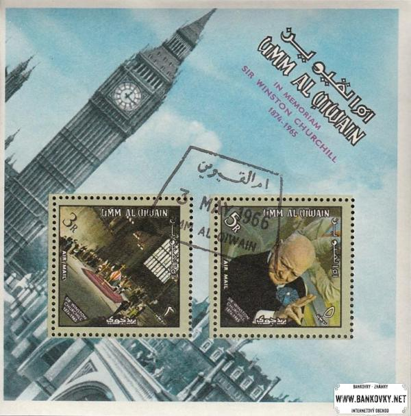 Známky Umm al Qaiwain 1966 Winston Churchill razítkovaný blok