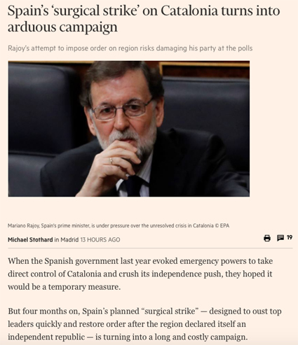 18c01 Spain's 'surgical strike' on Catalonia turns into arduous campaign Uti 425