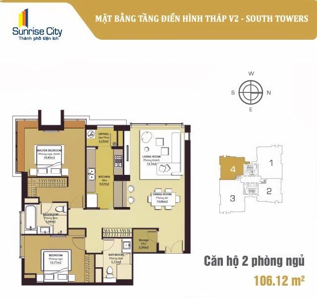Mặt bằng căn hộ 2 phòng ngủ tháp V2 dự án Sunrise City quận 7, diện tích 106m2.