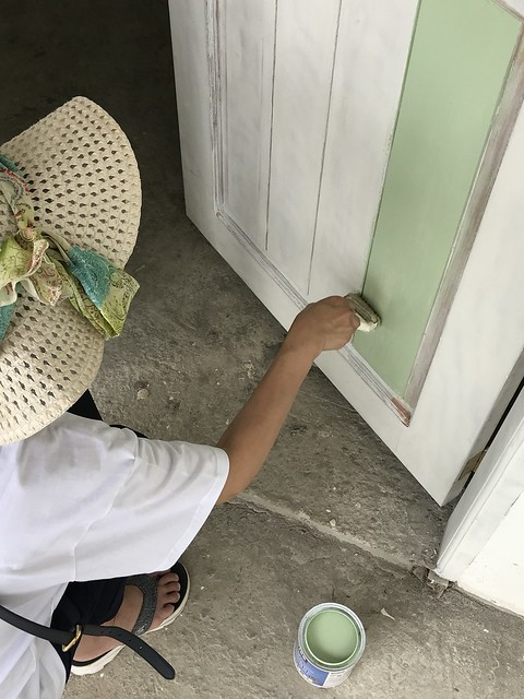 painting our cottage door March 4, 2018