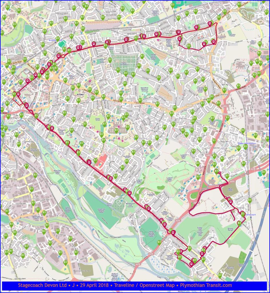 Stagecoach Devon • J • Map • 29 April 2018