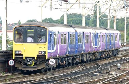 Class 150/1 'Northern Rail' No.150119. BREL York Sprinter DMU on Dennis Basford's railsroadsrunways.blogspot.co.uk'