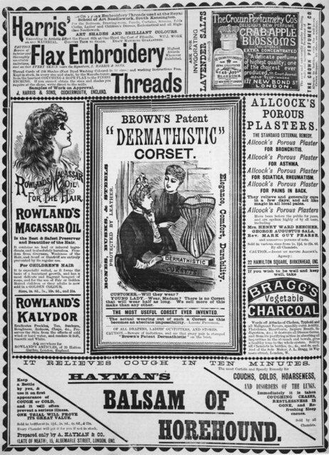 Advertisement for Browns patent dermathistic corset appearing in the Queensland Figaro, 1889