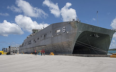 USNS Brunswick (T-EPF 6) ties up to the pier in Guam after arriving March 16 in support of Pacific Partnership. (U.S Navy/MC1 Byron C. Linder)