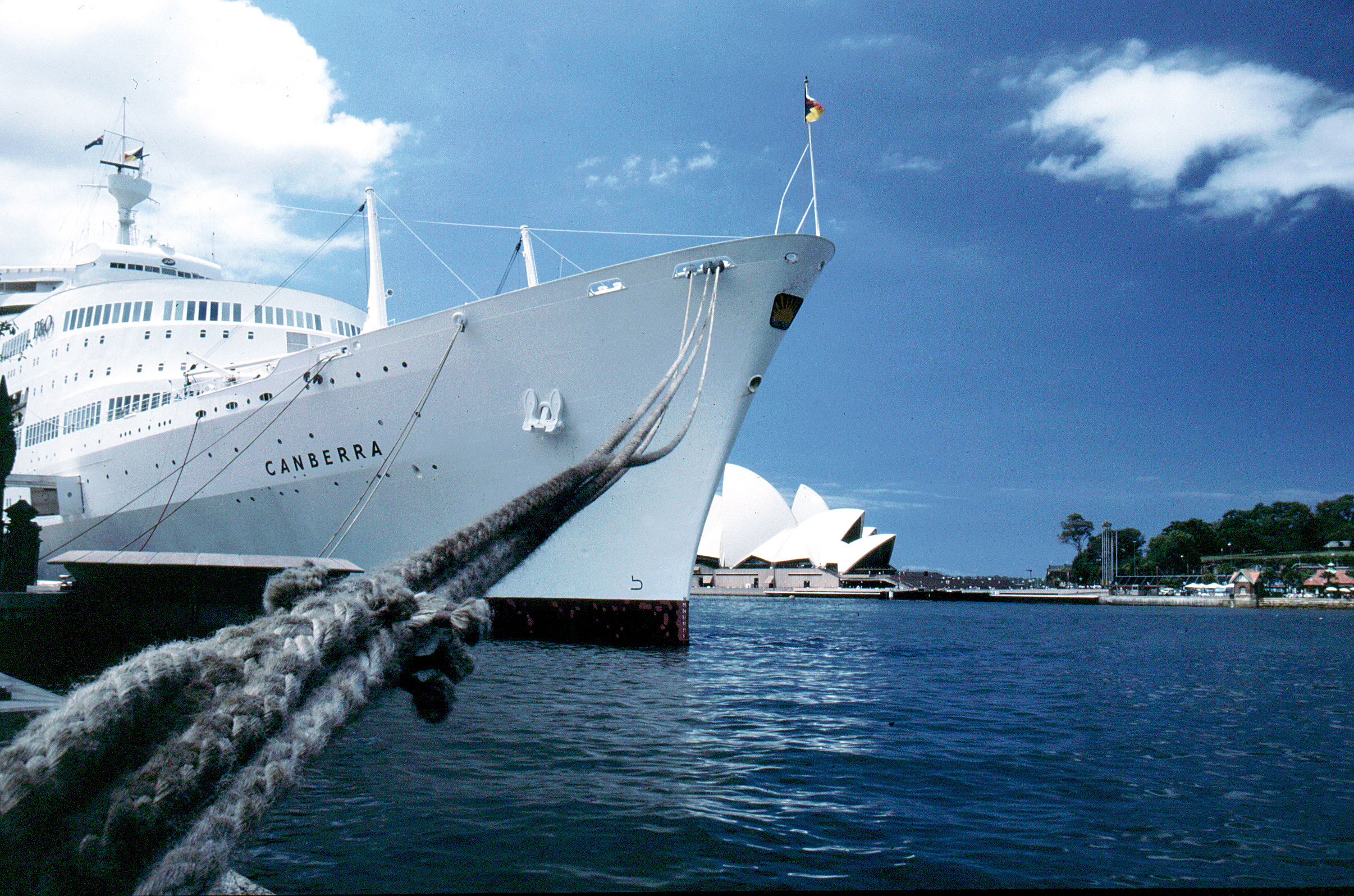 SS Canberra moored in Sydney Harbour.