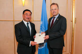 NEW PERMANENT REPRESENTATIVE OF MONGOLIA PRESENTS CREDENTIALS TO DIRECTOR-GENERAL OF UNITED NATIONS OFFICE AT GENEVA