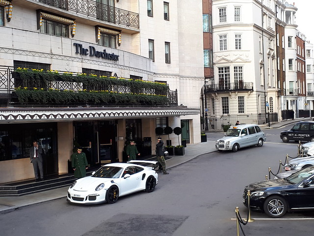 Porsche outside the Dorchester Hotel London