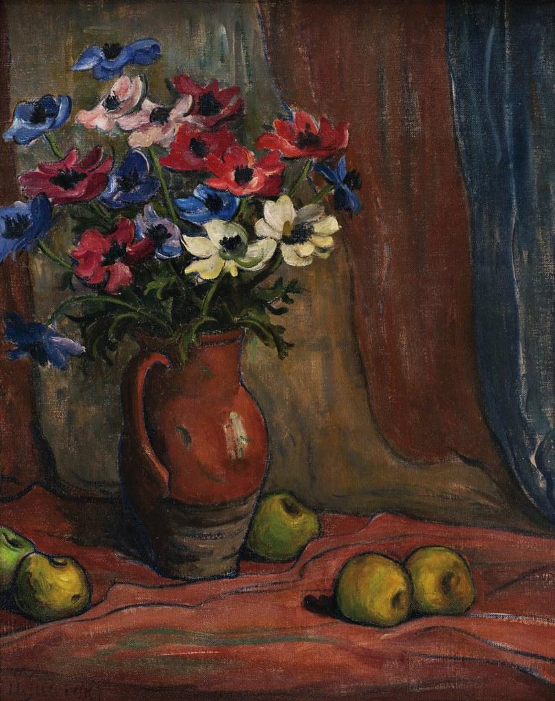 Wladyslaw Slewinski - Nature morte aux anémones et aux pommes