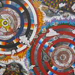 Roy Anneberg; Concentric Clash of Titans; Mixed media on canvas; 2014; 18x24 in. - Jeffco Teacher Solo Exhibition