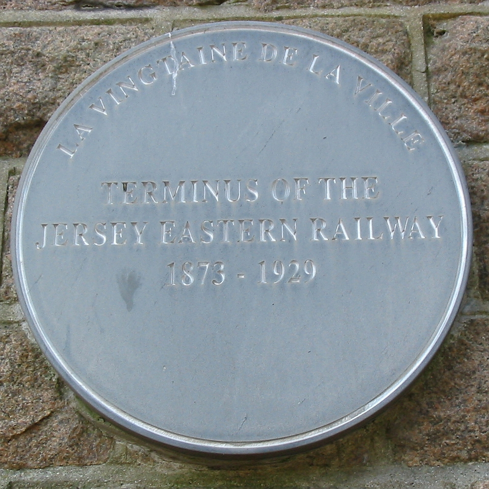 Plaque at the former Snow Hill terminus in St. Helier. Photo taken on June 17 2008.