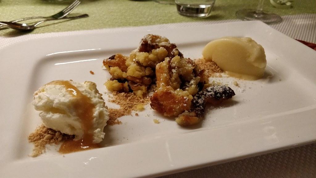 Topfenmousse, Kaiserschmarrn, Apfel-Calvados-Sorbet