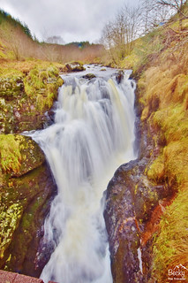 Waterfall in Hafren Forest - River Severn trail Wales