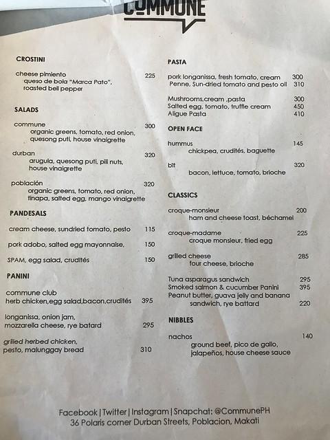 Commune Cafe Menu