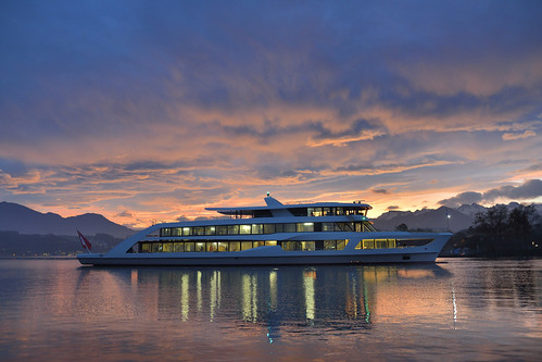 Motor Vessel MS Diamant, Lake Lucerne Region. From Have A Swiss Travel Pass? Happy Traveling via Trains, Boats, and Land