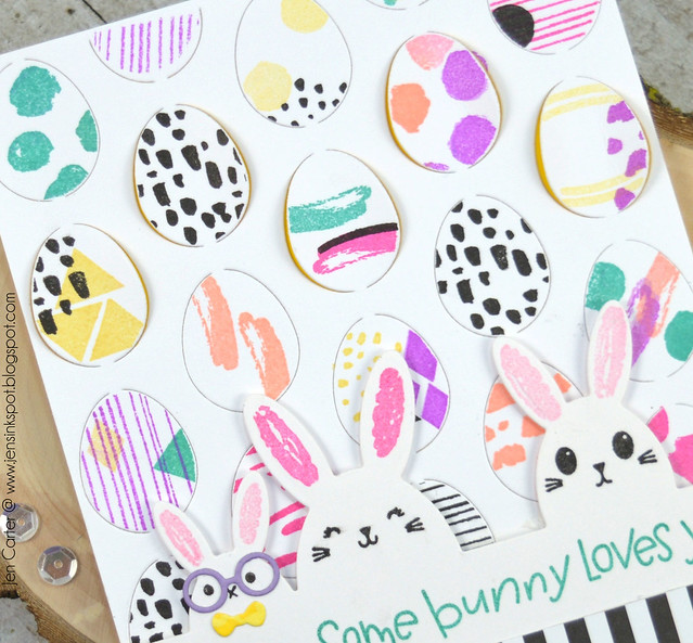 Jen Carter Easter Egg Pop Up Happy Bunny Border Stamps closeup
