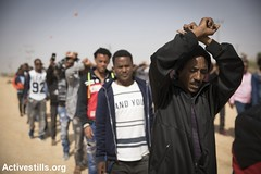 Protest outside Holot detention centre, Negev Desert, Israel, 22.2.2018