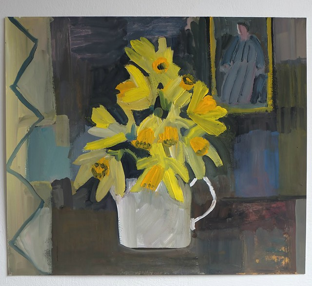 Interior with daffodils- Gouache on gesso primed paper (34.5cm x 29.5cm)